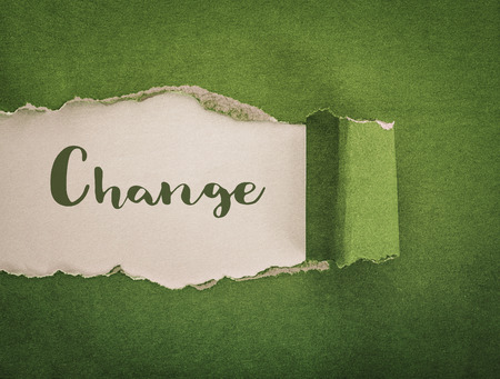 change concept, green paper torn background Imagens