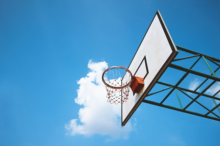 basketball ring against blue sky background