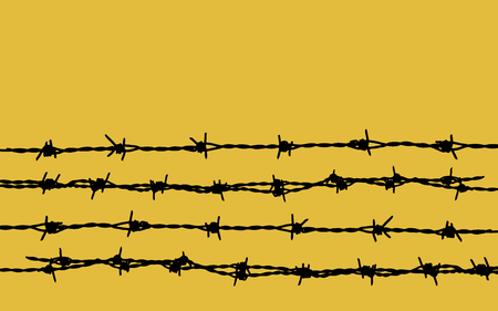 Barbed wire on yellow background Vectores