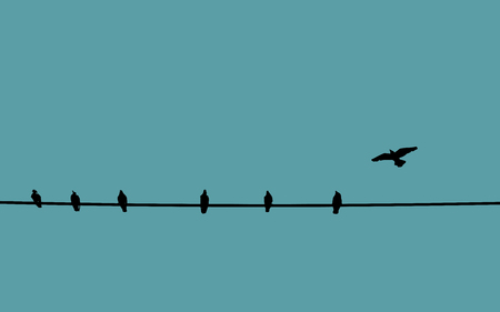 Birds on wire against color background Çizim