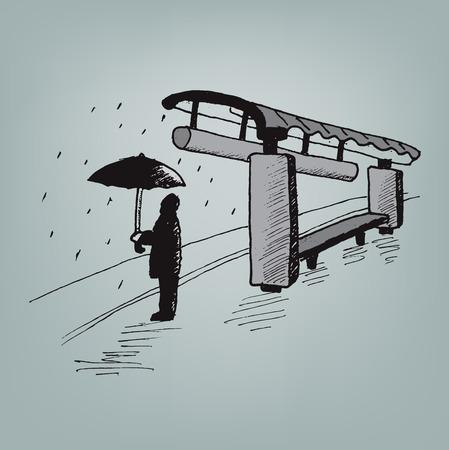 a man with umbrella at bus stop on rainy night, vector sketch illustration Illustration