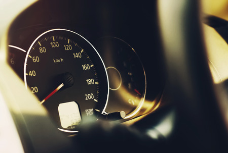 close up car dashboard speedometer Stok Fotoğraf