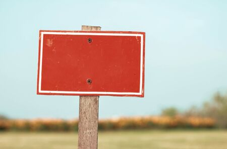 red blank sign with blur background Stock Photo
