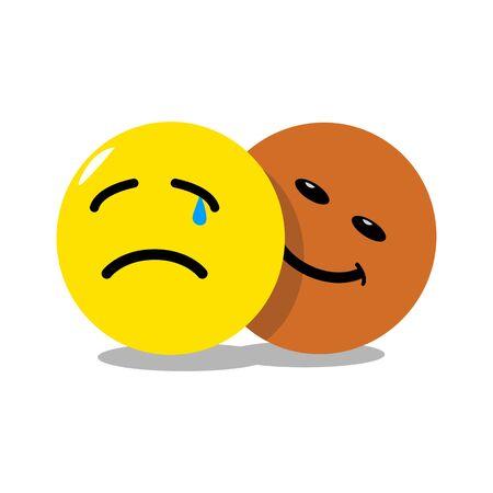 hypocrite emoticon behind sad emoticon 向量圖像