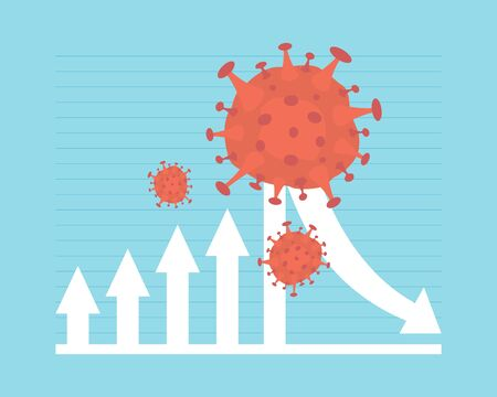 the spread of virus impacts the economy. business arrow down. financial crisis