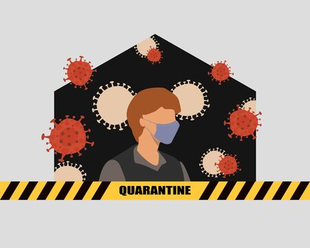 staying at home with self quarantine to help slow outbreak and protect virus spread. a man wearing medical mask in his home with restricted area alert sign. vector illustration Vektorové ilustrace