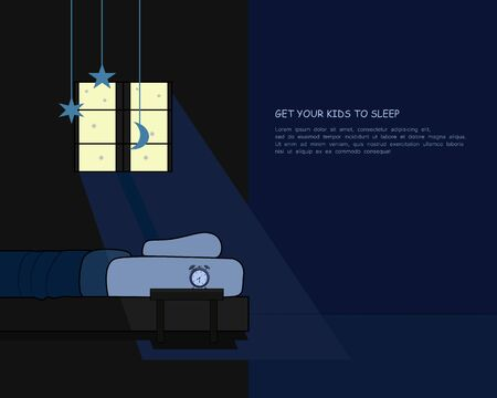 set the bedtime for your kids. children's sleeping concept. vector illustration.