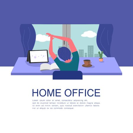 a man sitting at a desk stretching out to relieve back and shoulder pains due to the office syndrome in the home office. concept of work from home during coronavirus pandemic.