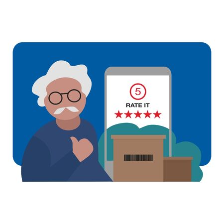 a senior man satisfied and giving 5-star on shopping online feedback. customer review concept. Stock Illustratie