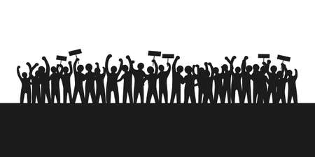 the silhouette of the protesters raising their arms and holding a sign showing their claim. crowd people and solidarity campaign concept.
