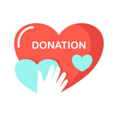 hand and hearts symbol. helping and giving love for human beings. charity and donation concept. vector illustration. 矢量图片