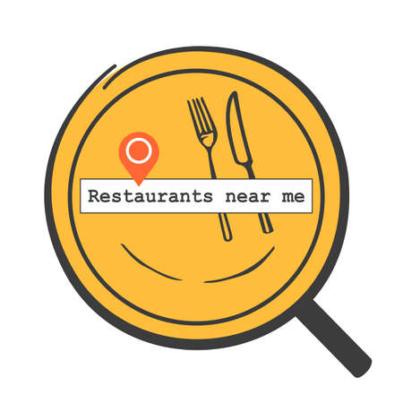 find nearby restaurants that open for food delivery or search location of the restaurant for a meal in travel time. concept of eating out. vector illustration.