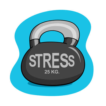 stress word on kettlebell. managing stress with exercise does reduce tension.