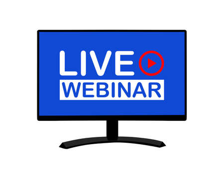 live webinar and play button on the computer screen. business and education online seminar. remote training