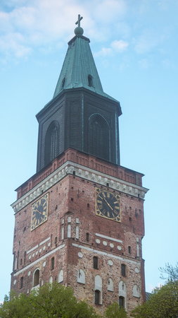 close up of tower of turku cathedral in the evening Stock Photo