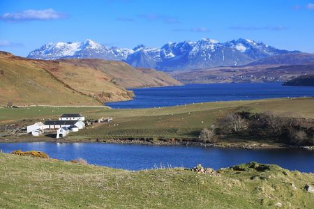 Loch, valley and farm Stock Photo - 4563010