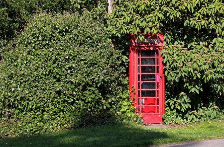 phonebox: A phonebox hidden by an overgrown hedge portraying a hidden caller.