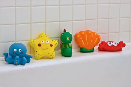 squeaky clean: Colourful Bath toys Stock Photo