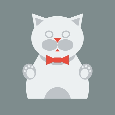 grey cat: Flat grey cat with a red bow tie.