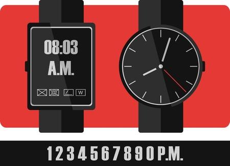 Electronic and mechanical wrist watch, classic or technology Çizim