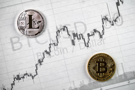 Litecoin and bitcoin cryptography changes in exchange rates 免版税图像