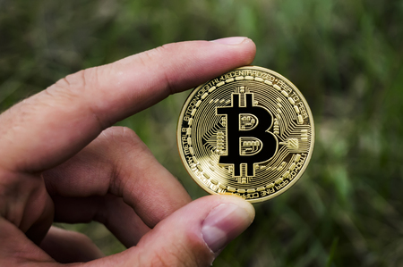 New crypto currency, bitcoin and computer fee finance finance Banque d'images