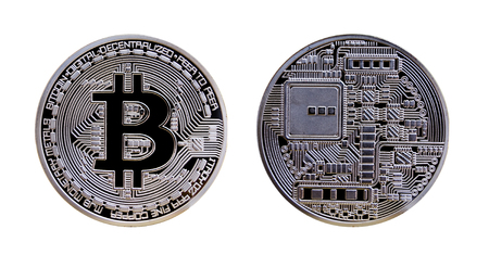 Silver bitcoin isolated on white background Zdjęcie Seryjne