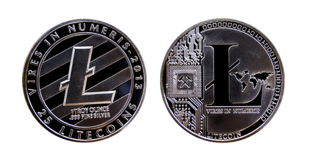 Silver litecoin coin isolated on white background Zdjęcie Seryjne