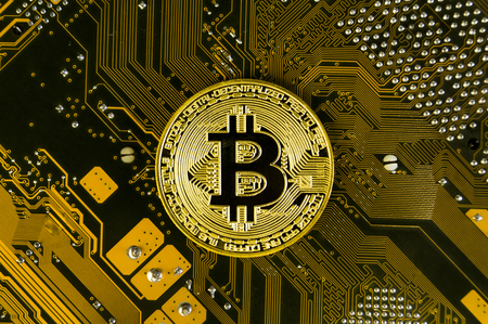 Bitcoin is a modern way of exchange and this crypto currency is a convenient means of payment in the financial Banque d'images