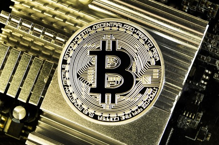 Bitcoin is a modern way of exchange and this crypto currency is a convenient means of payment in the financial Stock Photo