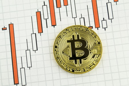 security symbol: Bitcoin is a modern way of exchange and this crypto currency is a convenient means of payment in the financial Stock Photo