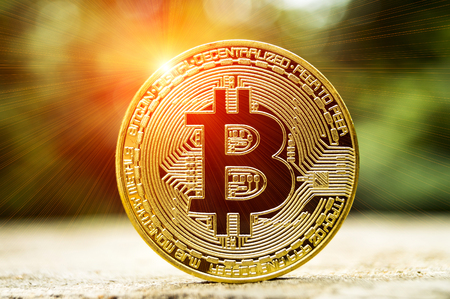 Bitcoin is a modern way of exchange and this crypto currency is a convenient means of payment in the financial and web markets Stock Photo
