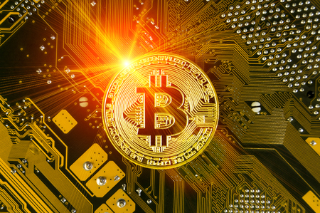 Bitcoin is a modern way of exchange and this crypto currency is a convenient means of payment in the financial and web markets Banque d'images
