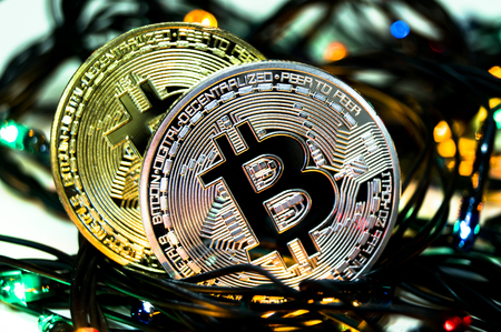 Bitcoin is a modern way of exchange and this crypto currency is a convenient means of payment in the financial and web markets 스톡 콘텐츠