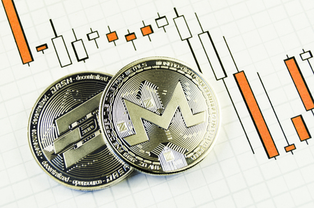 Monero is a modern way of exchange and this crypto currency is a convenient means of payment in the financial and web markets Stock Photo
