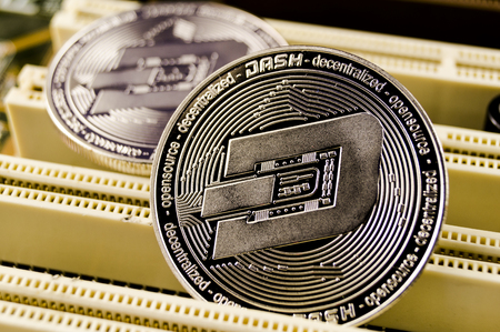 Dash is a modern way of exchange and this crypto currency is a convenient means of payment in the financial and web markets Stock Photo