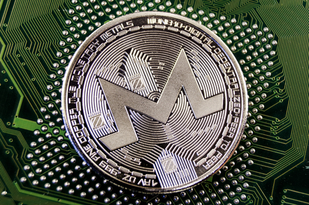Monero is a modern way of exchange and this crypto currency is a convenient means of payment in the financial and web markets Archivio Fotografico - 98491073