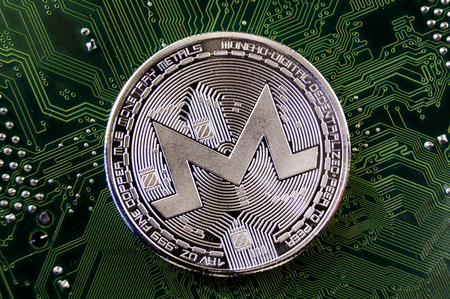 Monero is a modern way of exchange and this crypto currency is a convenient means of payment in the financial and web markets Archivio Fotografico - 98491074