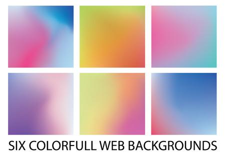 Set of six new modern gradient backgrounds 矢量图像