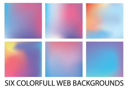 Set of six new modern gradient backgrounds Illustration