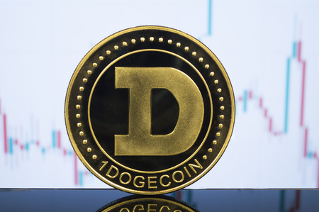 Dogecoin is a modern way of exchange and this crypto currency is a convenient means of payment in the financial Stok Fotoğraf