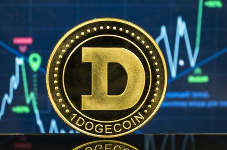 Dogecoin is a modern way of exchange and this crypto currency is a convenient means of payment in the financial Imagens