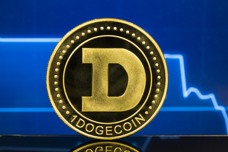 Dogecoin is a modern way of exchange and this crypto currency is a convenient means of payment in the financial 版權商用圖片