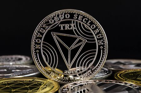 Tron TRX is a modern way of exchange and this crypto currency is a convenient means of payment in the financial Фото со стока