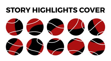 highlights stories covers icons. Set of 10 highlights red and black covers. Fully editable, scalable vector file.