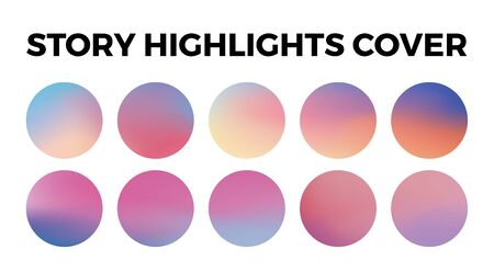 highlights stories covers icons. Set of 10 highlights gradient covers. Fully editable, scalable vector file.