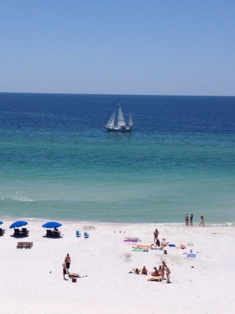 shores: Scenic beach view from Gulf Shores Alabama.