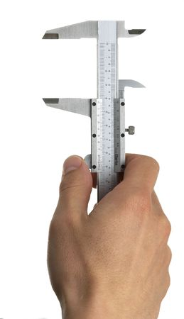 a pair of duel scale vernier measuring calipers on a white background with a l and a hand Stock Photo