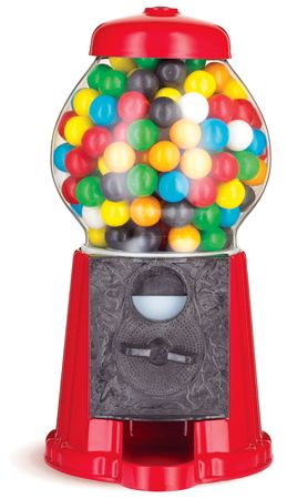colorful gumball chewing gum dispenser machine on a white background