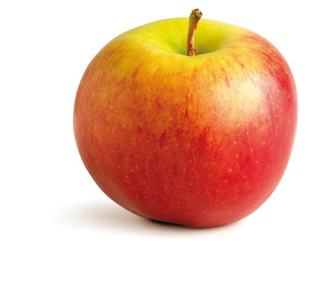 juicy red apple on a white background Stock Photo